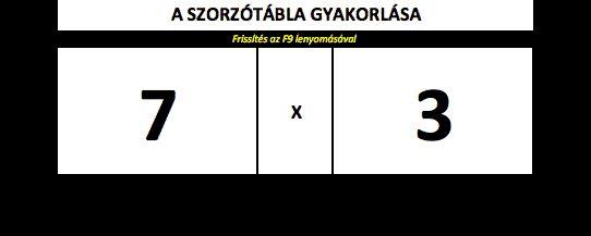 Szorzótábla gyakorló Excel táblázat